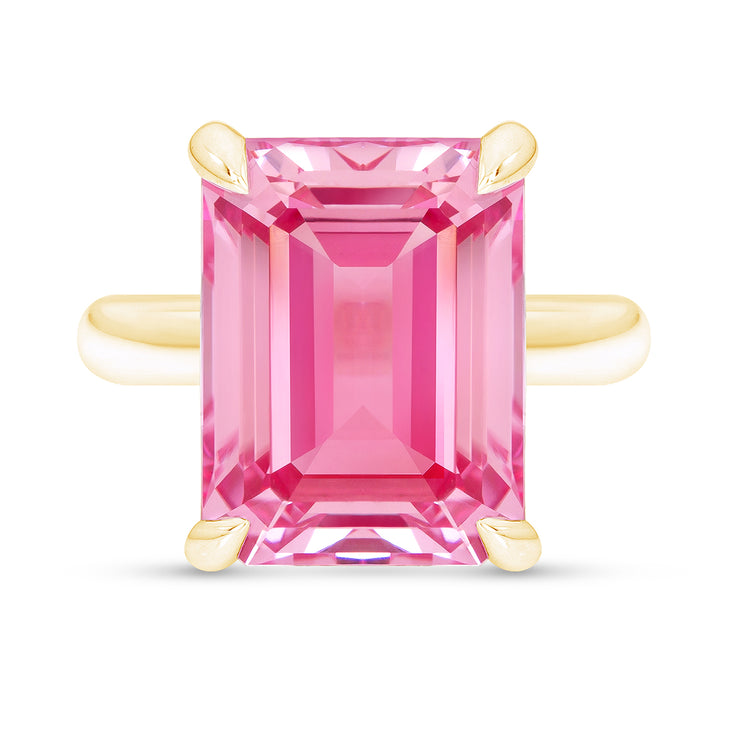 Emerald Cut Pink Sapphire Empire Ring In 14k Gold