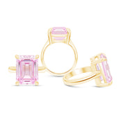 Emerald Cut Light Pink Sapphire Empire Ring In 14k Gold