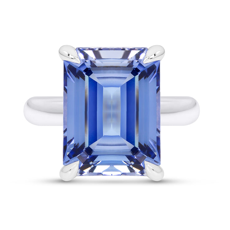 Emerald Cut Blue Sapphire Empire Ring In Silver