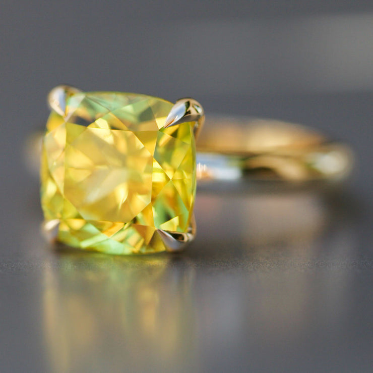 Cushion Cut Yellow Sapphire Heritage Ring In 14k Gold