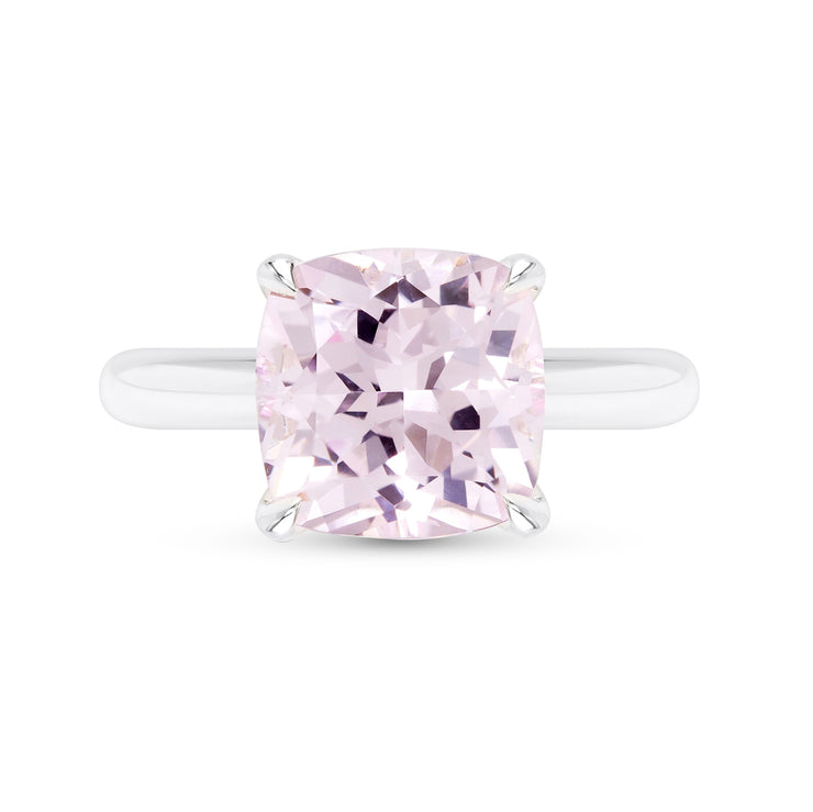 Cushion Cut Light Pink Sapphire Heritage Ring In Silver