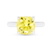 Yellow Sapphire Cushion Cut Heritage Ring In Silver