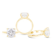 Cushion Cut White Sapphire Heritage Ring In 14k Gold