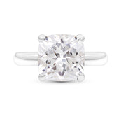 Cushion Cut White Sapphire Heritage Ring In Silver
