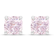 Cushion Cut Light Pink Sapphire Heritage Studs In Silver