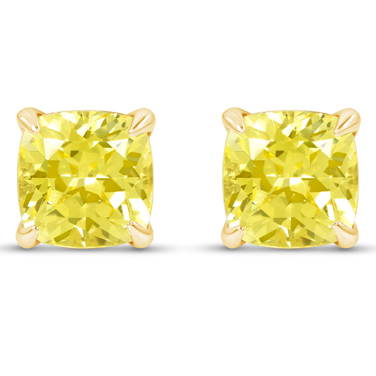 Cushion Cut Yellow Sapphire Heritage Studs In 14k Gold