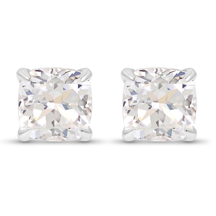 Cushion Cut White Sapphire Heritage Studs In Silver