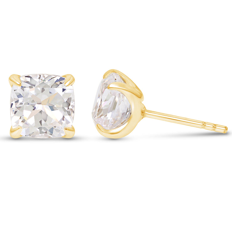 Cushion Cut White Sapphire Heritage Studs In 14k Gold