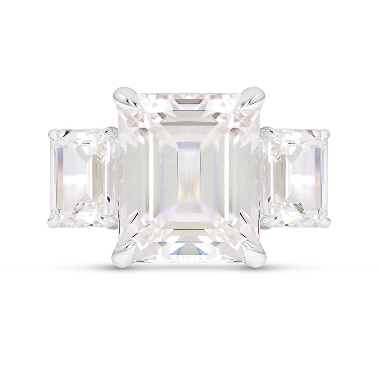 Emerald Cut White Sapphire Orsay Ring In Silver