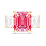 Emerald Cut Pink Sapphire Orsay Ring In 14k Gold