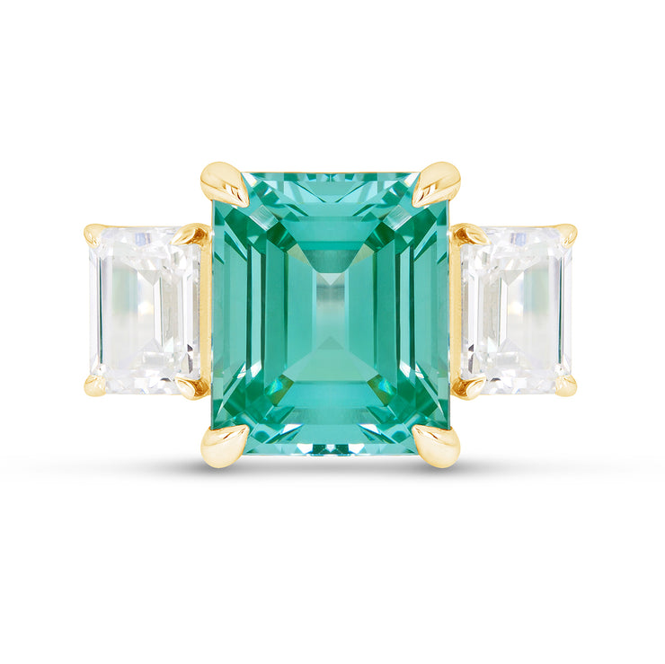 Emerald Cut Teal Green Spinel Orsay Ring In 14k Gold