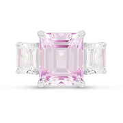 Emerald Cut Light Pink Sapphire Orsay Ring In Silver