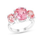 Oval Antique Cut Pink Sapphire Palais Ring In Silver
