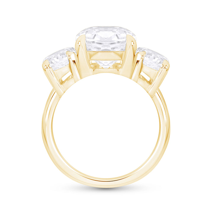 Oval Antique Cut White Sapphire Palais Ring In 14k Gold