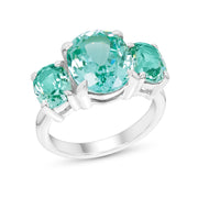 Oval Antique Cut Teal Green Spinel Palais Ring In Silver