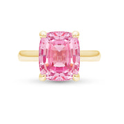 Antique Cushion Cut Pink Sapphire Pavilion Ring In 14k Gold
