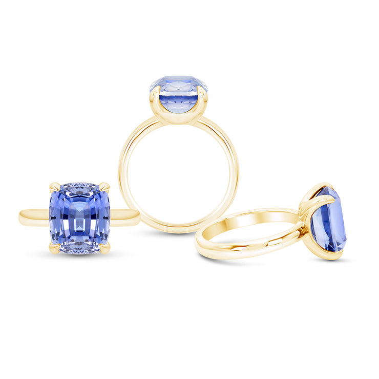 Antique Cushion Cut Blue Sapphire Pavilion Ring In 14k Gold
