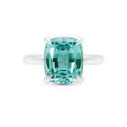 Antique Cushion Cut Teal Green Spinel Pavilion Ring In Silver