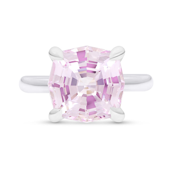 Octagon Cut Light Pink Sapphire Regency Ring In Silver