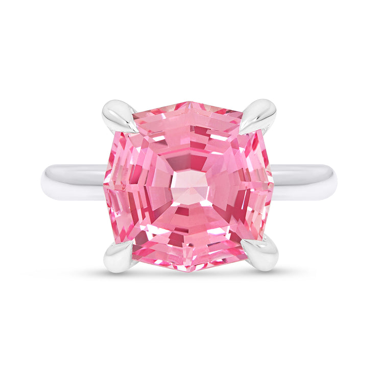 Hexagon Cut Pink Sapphire Regency Ring In Silver