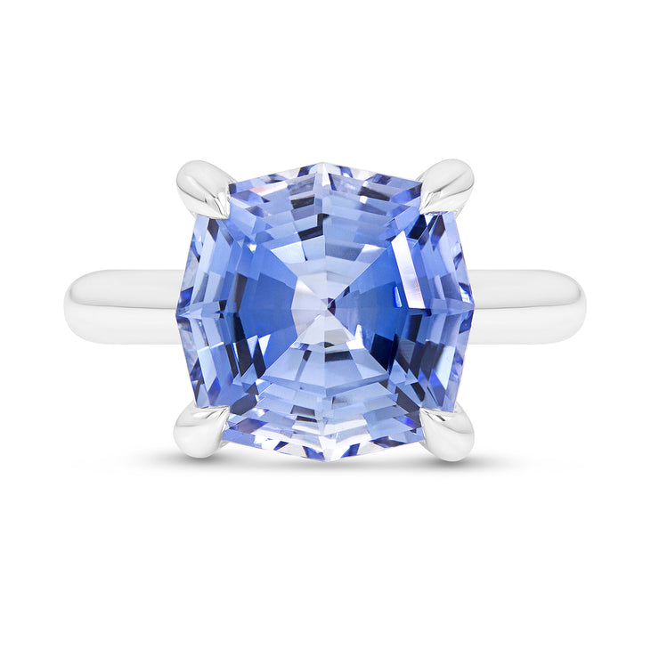 Octagon Cut Blue Sapphire Regency Ring In Silver