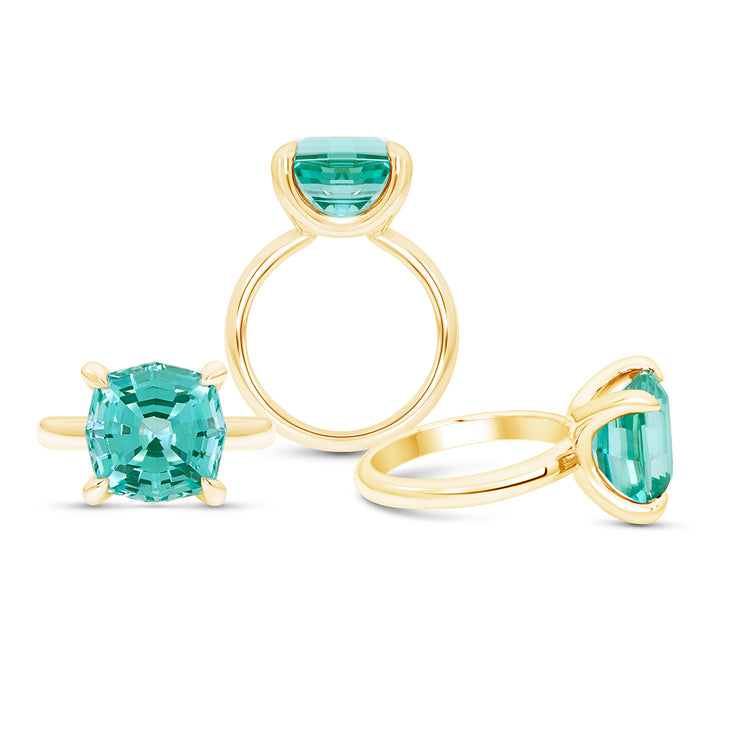 Octagon Cut Teal Green Spinel Regency Ring In 14k Gold