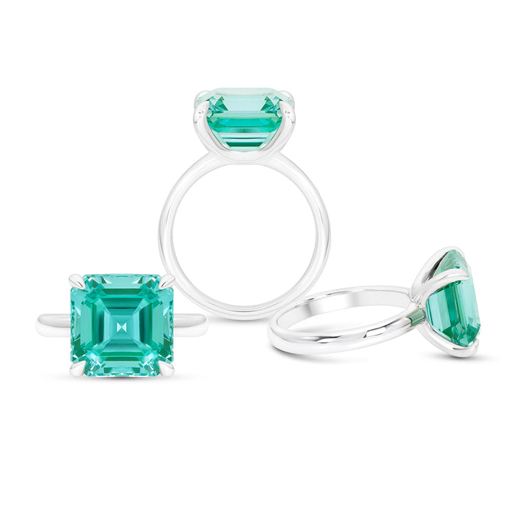 Asscher Cut Teal Green Spinel Riviera Ring In Silver