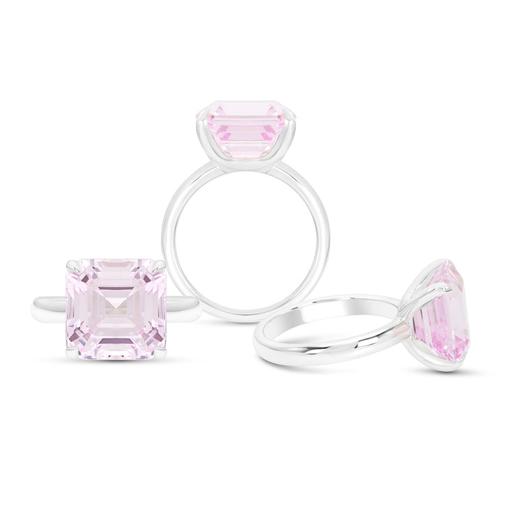 Asscher Cut Light Pink Sapphire Riviera Ring In Silver