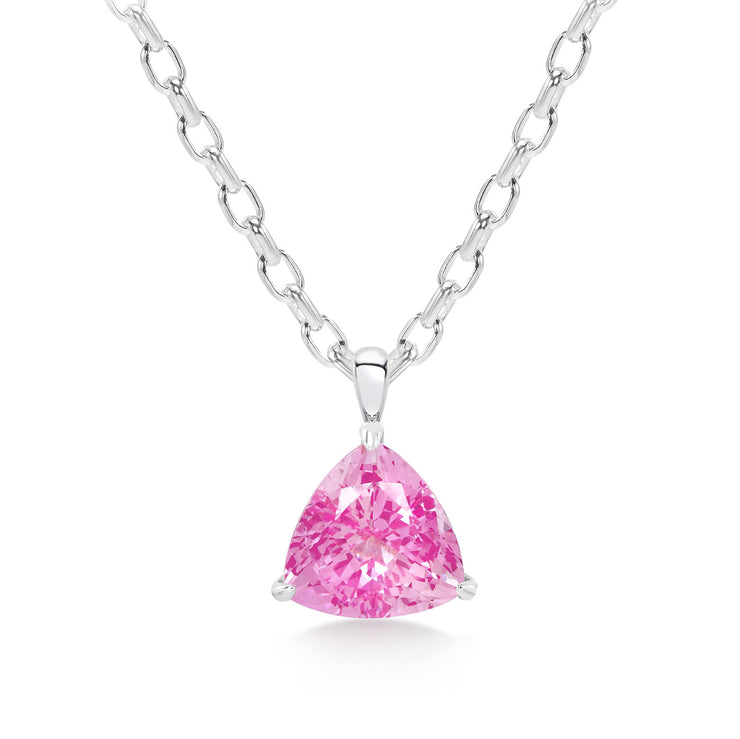 Trillion Cut Pink Sapphire Pendant With Chain In Silver