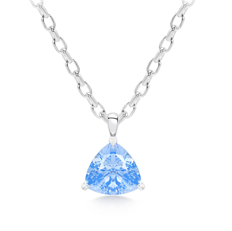 Trillion Cut Blue Spinel Pendant With Chain In Silver