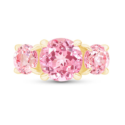 Peach Sapphire Triple Crown Ring