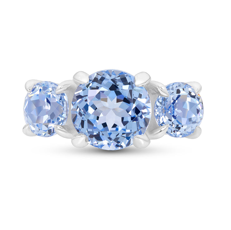 Antique Cut Blue Spinel Triple Crown Ring In Silver