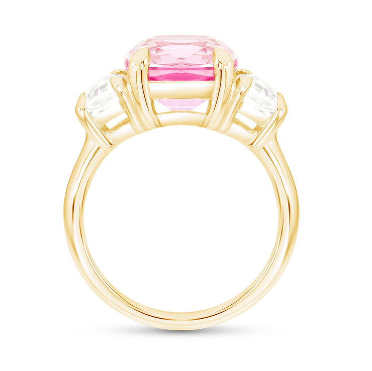 Antique Cushion Pink Sapphire Victoire Ring In 14k Gold