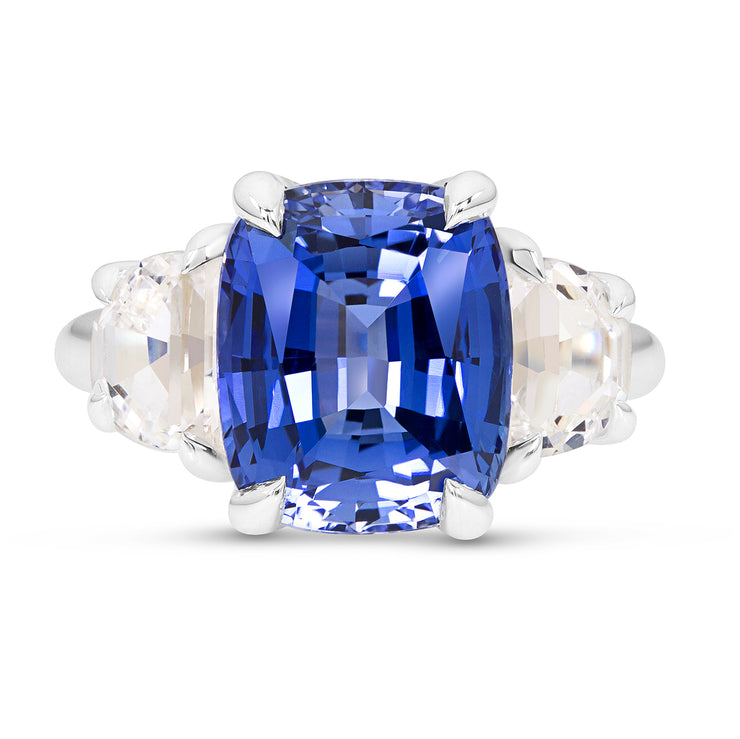 Antique Cushion Cut Blue Sapphire Victoire Ring In Silver