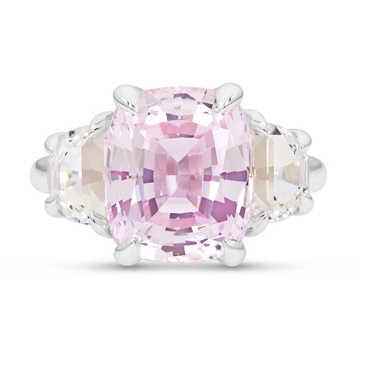 Antique Cushion Cut Light Pink Sapphire Victoire Ring In Silver