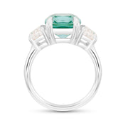 Antique Cushion Cut Teal Green Spinel Victoire Ring In Silver