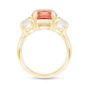 Antique Cushion Cut Orange Sapphire Victoire Ring In 14k Gold
