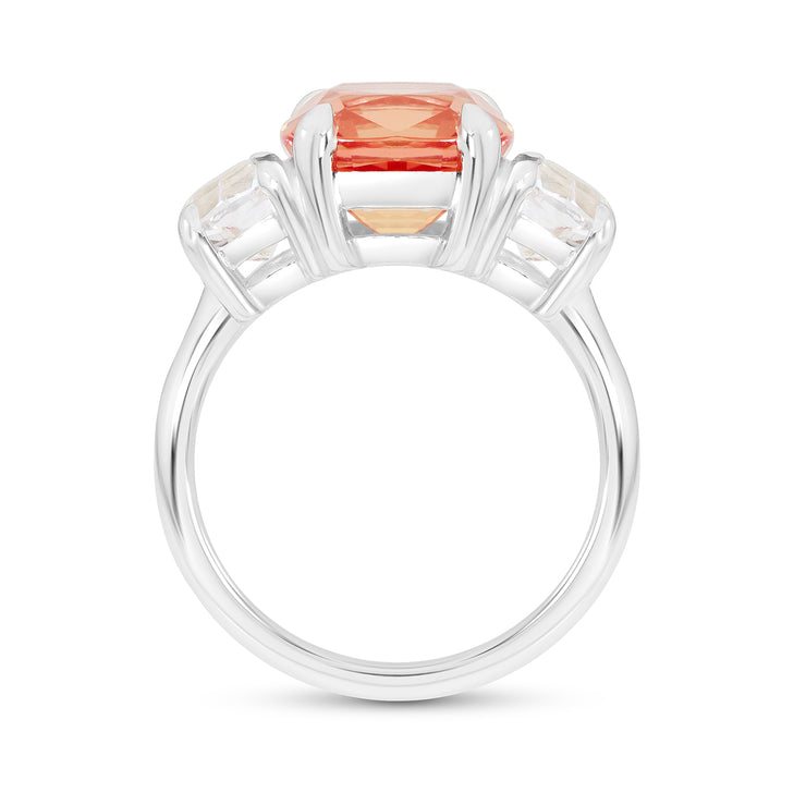 Antique Cushion Cut Orange Sapphire Victoire Ring In Silver