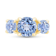 Round Blue Spinel Three Stone Ring