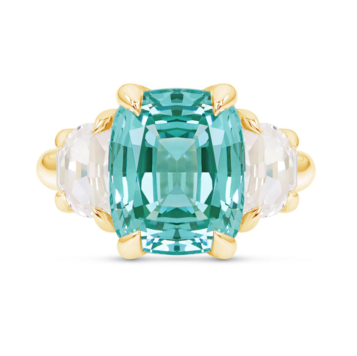 Cushion Cut Paraiba Spinel Three Stone Ring