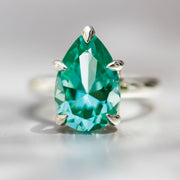 Antique Pear Cut Teal Green Spinel Garland Ring In Silver