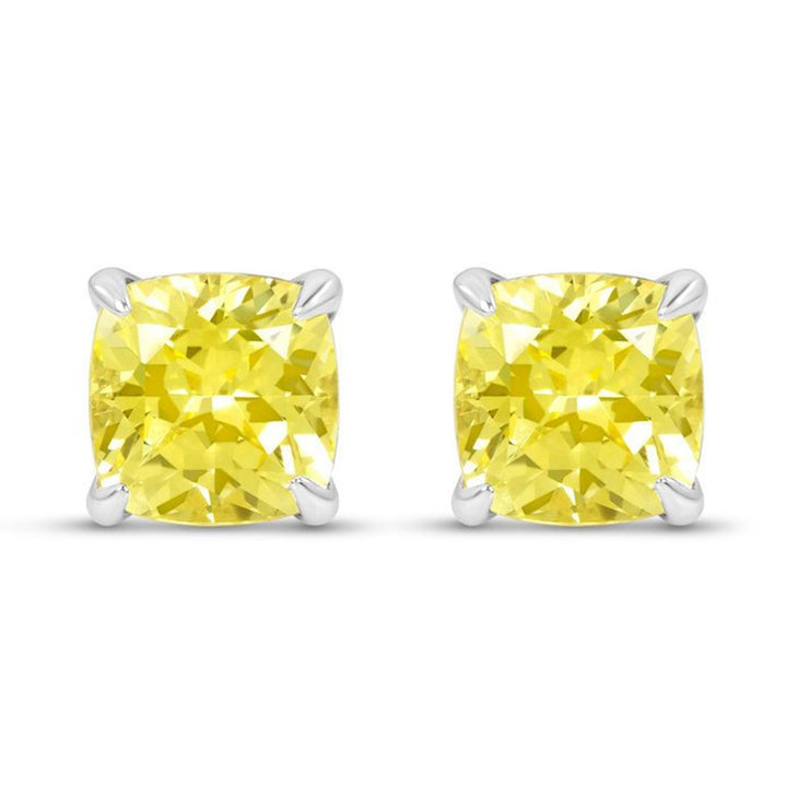 Cushion Cut Yellow Sapphire Heritage Studs In Silver