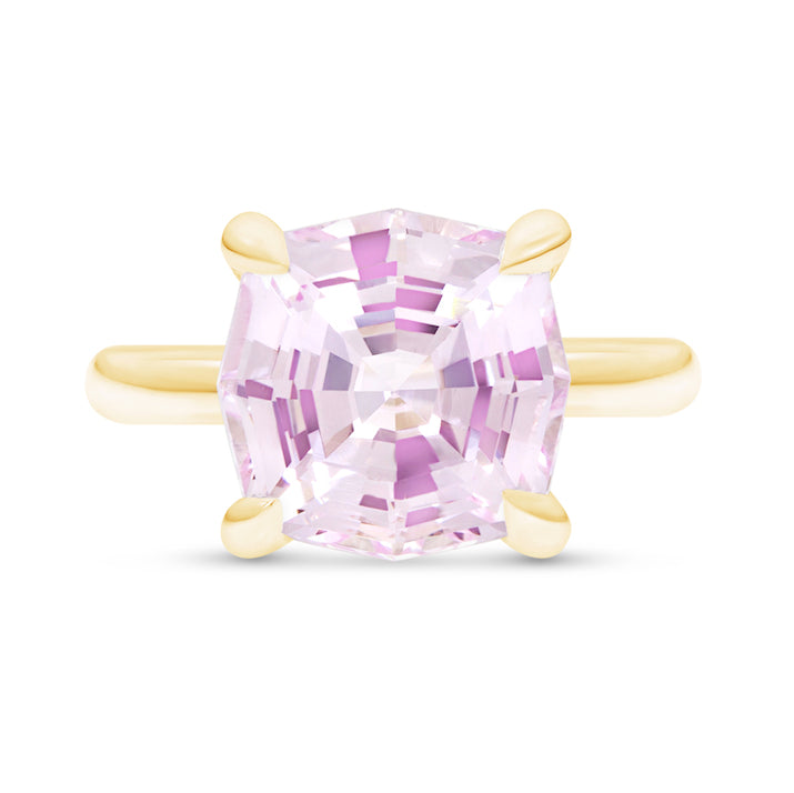 Hexagon Fancy Cut Light Pink Sapphire Ring
