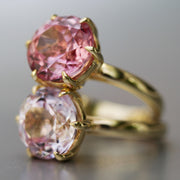 Antique Cut Pink Sapphire Crown Ring In 14k Gold