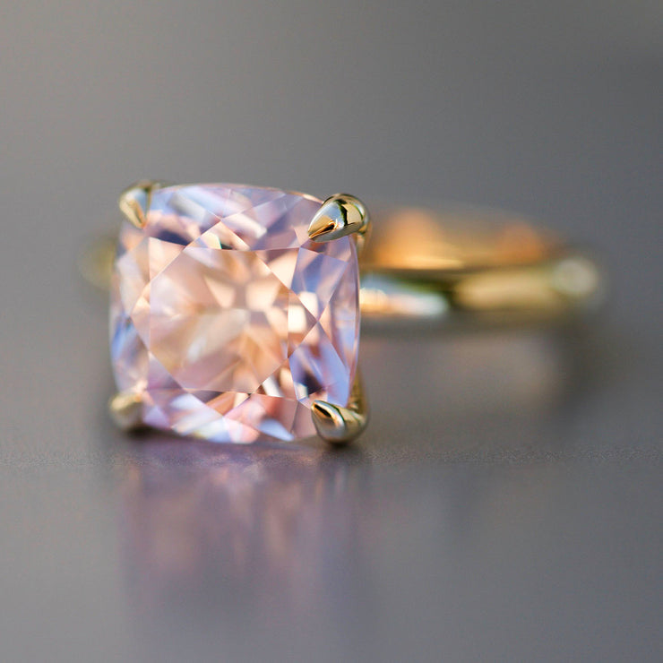 Cushion Cut Light Pink Sapphire Heritage Ring In 14k Gold