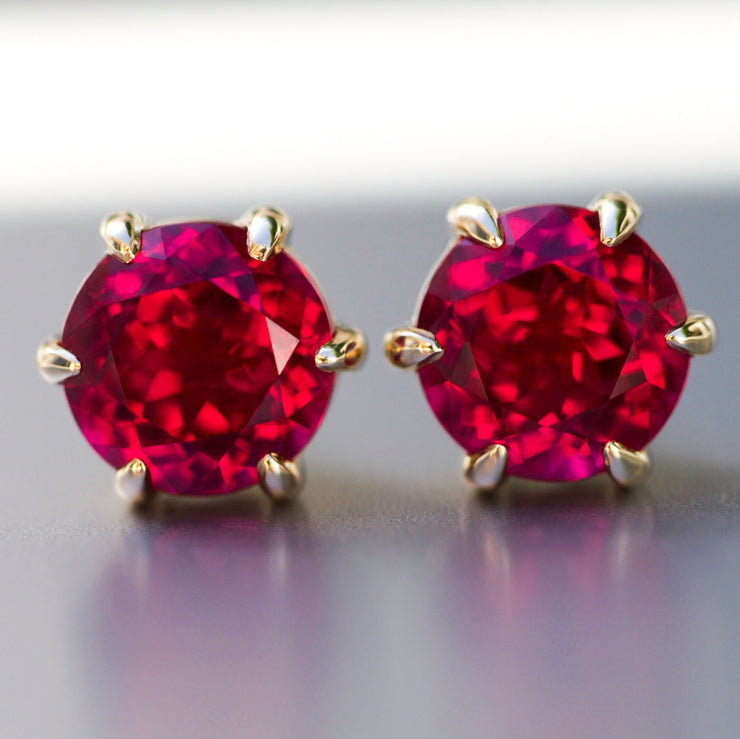 Antique Cut Ruby Crown Studs In 14k Gold
