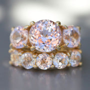 Antique Cut Light Pink Sapphire Triple Crown Ring In 14k Gold
