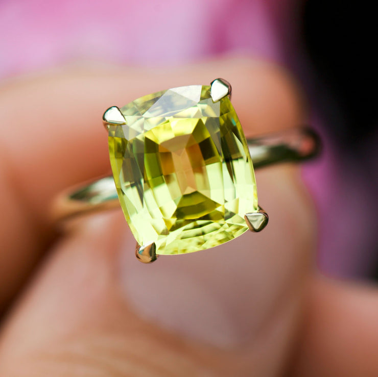 Antique Cushion Cut Yellow Sapphire Pavilion Ring In 14k Gold