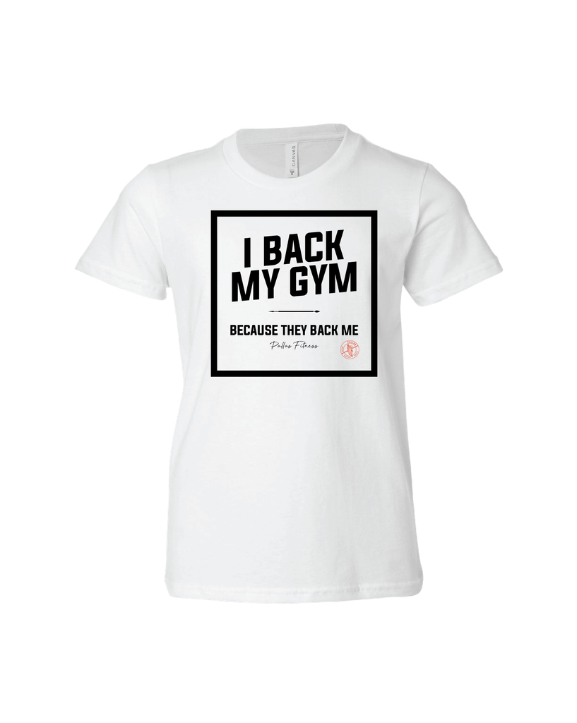 PALLAS: I Back My Gym Kids Tee, White