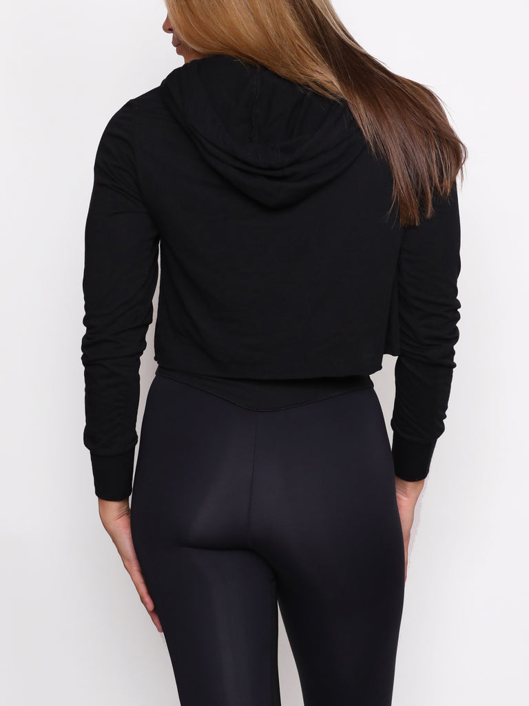 IRIDESCENT LADIES CROP HOODY, BLACK